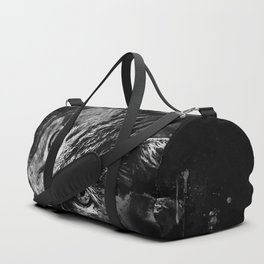 scary lurking cat from right splatter watercolor black white Duffle Bag