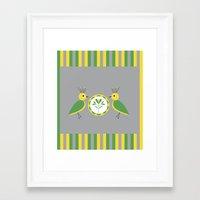 nan lawson Framed Art Prints featuring Green & Yellow Nan Birds by B.D.C. Design