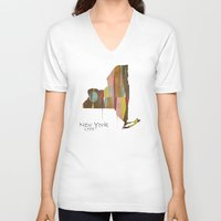 new york map V-neck T-shirts featuring new york state map by bri.buckley
