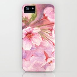 Cherry Blossom Pink Watercolor Illustration. iPhone Case
