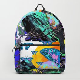 SURREAL BIRDS, BLUE BUTTERFLIES & GOLDEN MOON Backpack