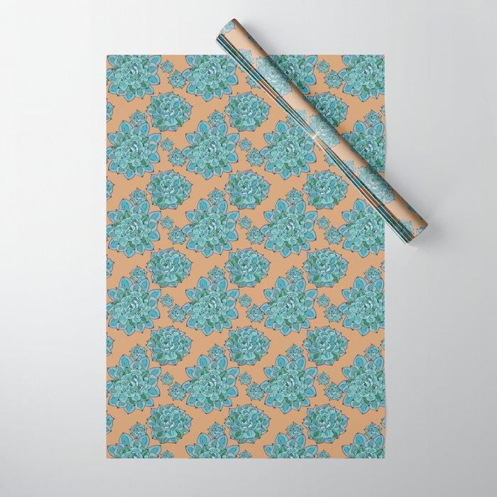 Echeveria Succulent Pattern Wrapping Paper