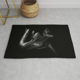 Guitar Woman Black and White Rug