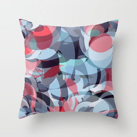 circle fractures blue red Throw Pillow