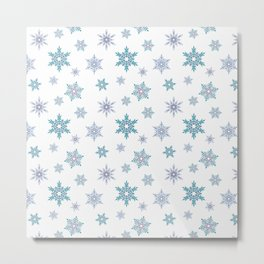 Fishnet blue snowflakes on a white background. Metal Print