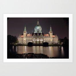 Hanover New City Hall at Night Art Print