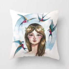 Pájaros en la cabeza Throw Pillow