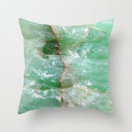 Crystalized Pale Green Quartz Slab with Copper Vein Throw Pillow
