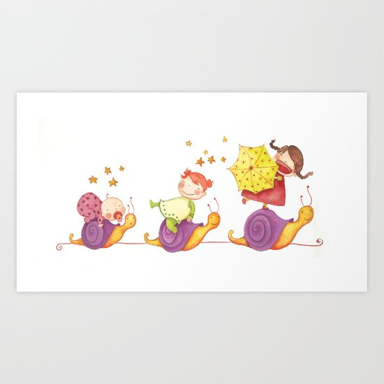 Babies in a snails Art Print