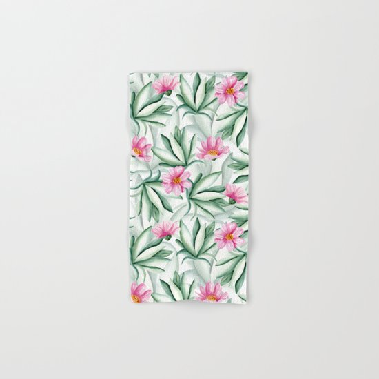 Tropical leaves and flowers Hand & Bath Towel