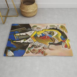 """Abstract Portrait of a Businessman titled """"First-World Problems"""" Rug"""