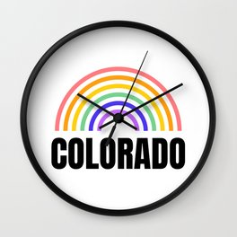 Colorado - I Love Colorado - Rainbow in Colorado Wall Clock