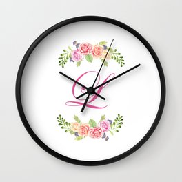 Floral Initial Letter L Wall Clock