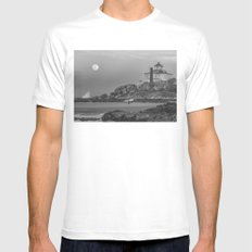 Surf's Over B&W White Mens Fitted Tee MEDIUM