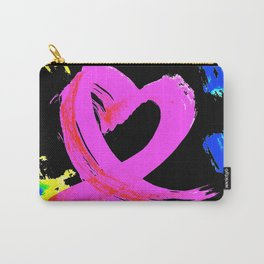 Pink Heart Ribbon (with Tie-Dye Blue-Yellow) for Breast Cancer Research by Jeffrey G. Rosenberg Carry-All Pouch