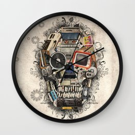 retro tech skull 2 Wall Clock
