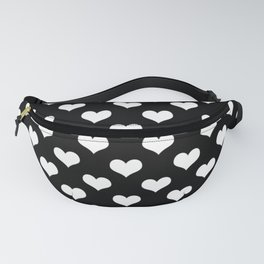 Black White Hearts Minimalist Fanny Pack