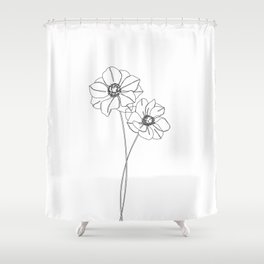 Botanical illustration line drawing - Anemones Shower Curtain