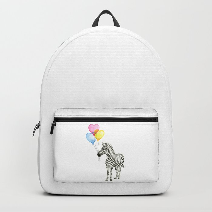 Zebra Watercolor With Heart Shaped Balloons Whimsical Baby Animals Backpack