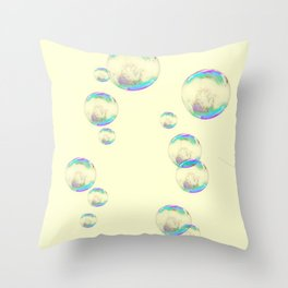 IRIDESCENT SOAP BUBBLES  ON YELLOW COLOR Throw Pillow