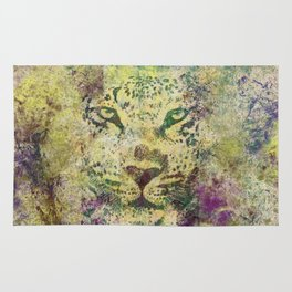 Hipster Leopard Fine Art Urban Grunge Watercolor Rug
