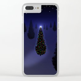 Christmas Tree Blue Clear iPhone Case