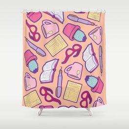 Book Club Pattern in Peach Shower Curtain