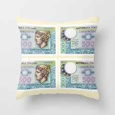 500 lire money note  Throw Pillow