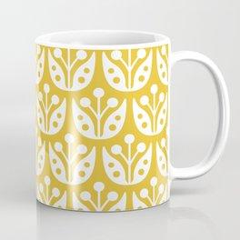 Mid Century Modern Flower Pattern Mustard Yellow Coffee Mug