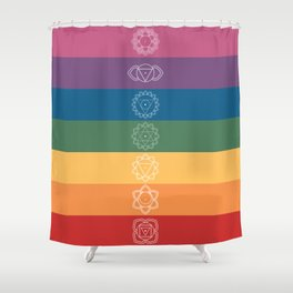 Seven Chakra Mandalas on a Striped Rainbow Color Background Shower Curtain