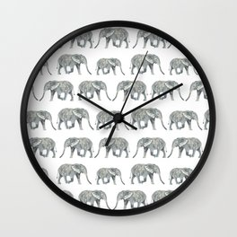 Elephant nature safari tropical painting watercolor nature pattern  Wall Clock
