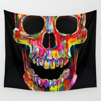 john Wall Tapestries featuring Chromatic Skull by John Filipe