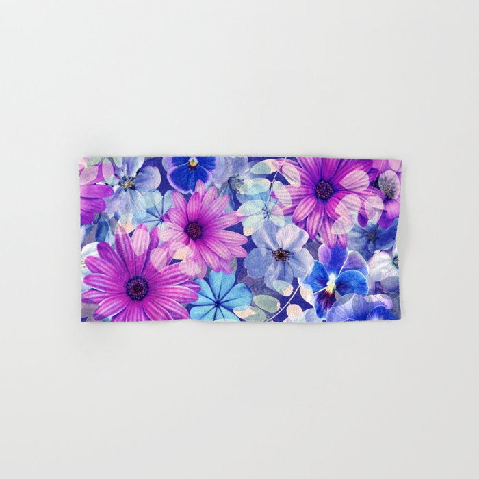 Dark pink and blue floral pattern Hand & Bath Towel