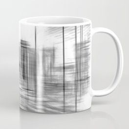 pencil drawing buildings in the city in black and white Coffee Mug