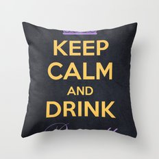 Keep Calm and Drink Royally Throw Pillow