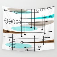 mid century modern Wall Tapestries featuring Mid-Century Modern Atomic Inspired by Kippygirl