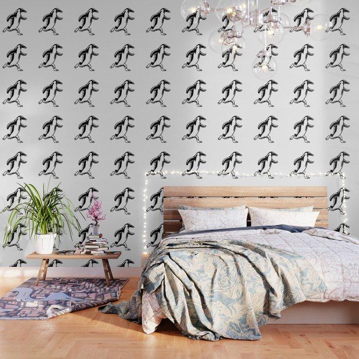 Gentoo Penguin Running Woodcut Wallpaper