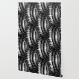 Shimmering textures of laundry machine drum -- Everyday art Wallpaper