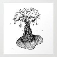 Tree in space Art Print