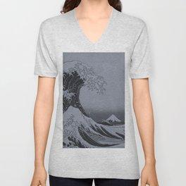 Silver Japanese Great Wave off Kanagawa by Hokusai Unisex V-Neck