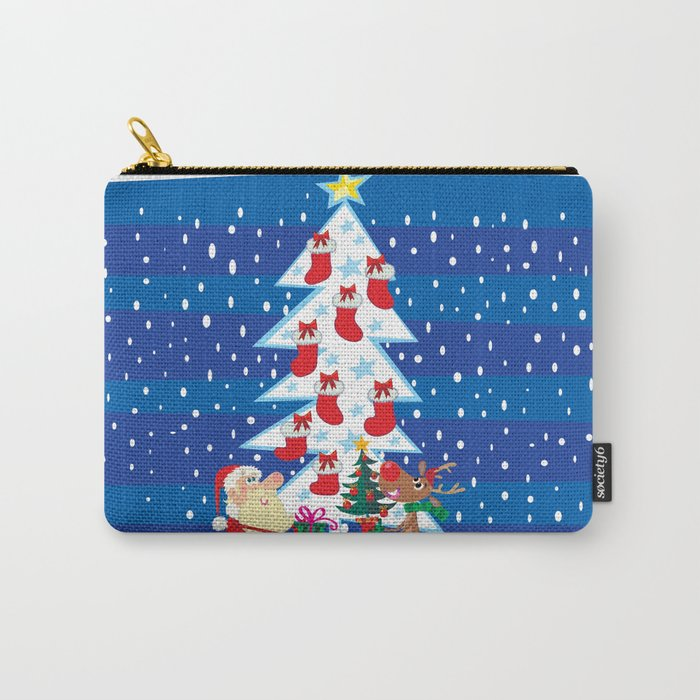 Santa Claus, raindeer and sock Carry-All Pouch