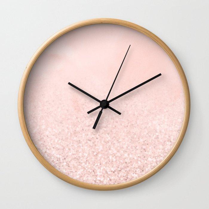 Blush Glitter Pink Wall Clock