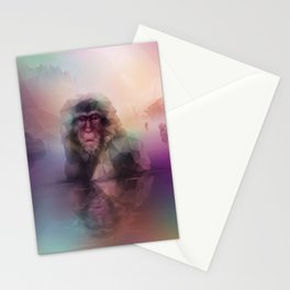 Macaque (Low Poly Multi II Snow Monkey) Stationery Cards