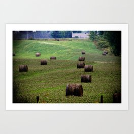 Rolls of Hay Canadian Countryside Green and Brown Print Art Print