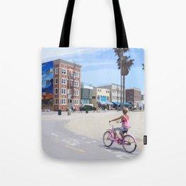 Riding bike in Venice Beach Tote Bag