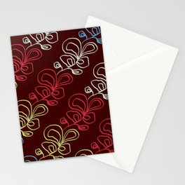 Diagonal Floral Doodle Mahogany Stationery Cards