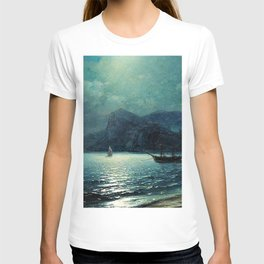 Shipping in a bay by Moonlight - Attributed to Ivan Aivazovsky T-shirt