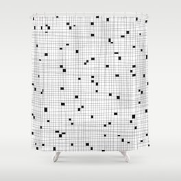 White and Black Grid - Missing Pieces Shower Curtain