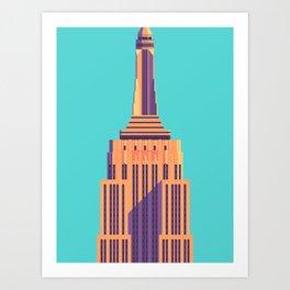 Empire State Building New York Art Deco - Cyan Art Print