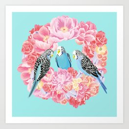 Birds of Paradise Parakeets Blue budgie Pink Peonies Flowers Wreath Art Print